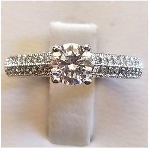 1.7CT TW White Sapphire Engagement Set Sz.4